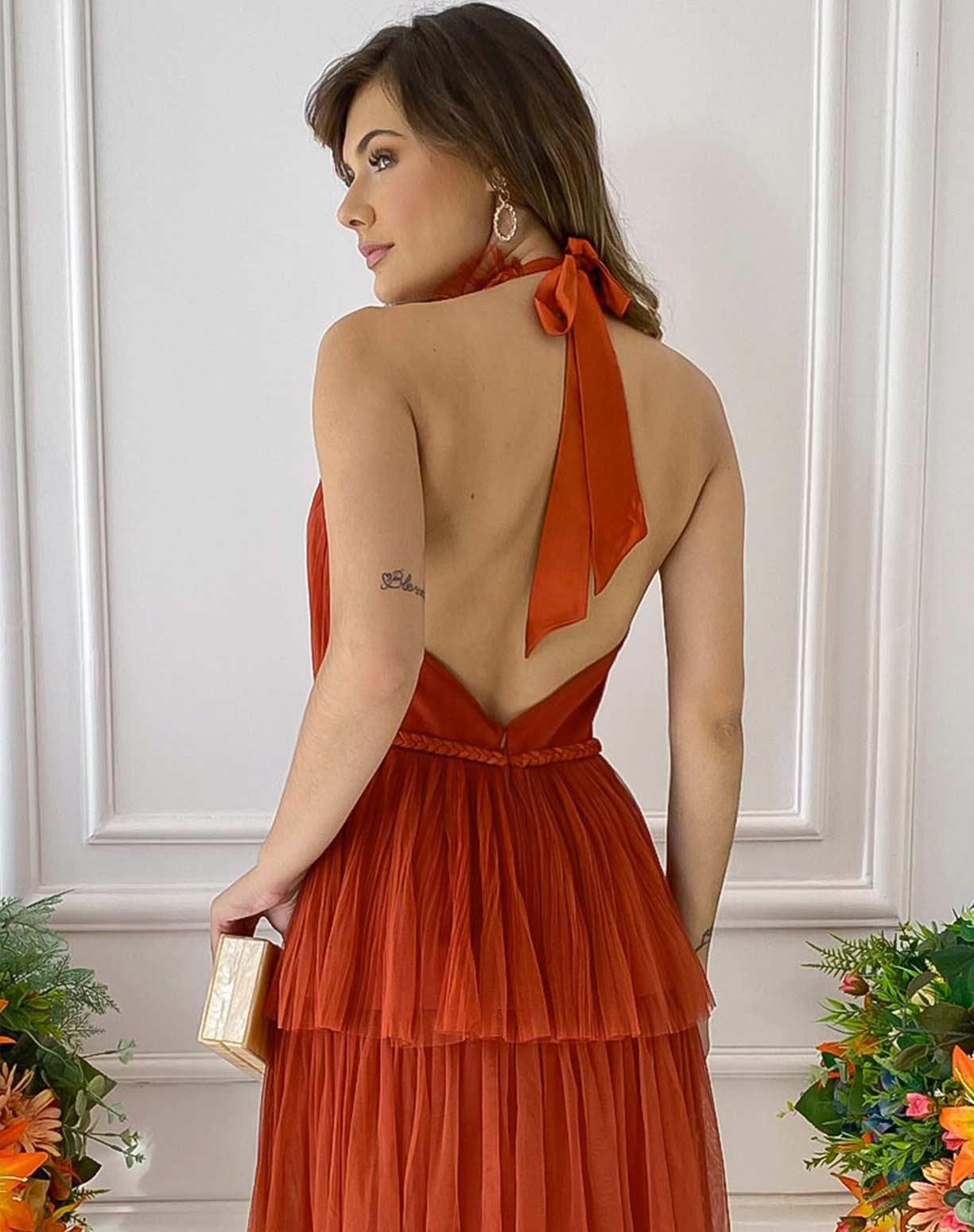 Vestido Frente Única Terracota com Detalhes em Macrame Acetinado