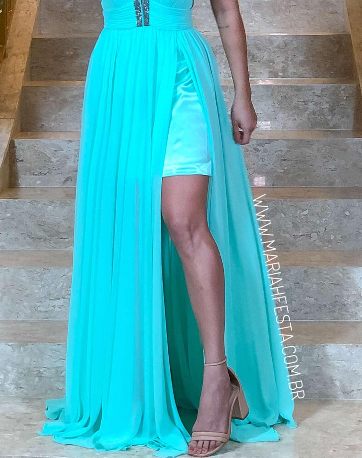 Vestido Frente Única Tiffany com Busto Plissado e Detalhes em Brilho