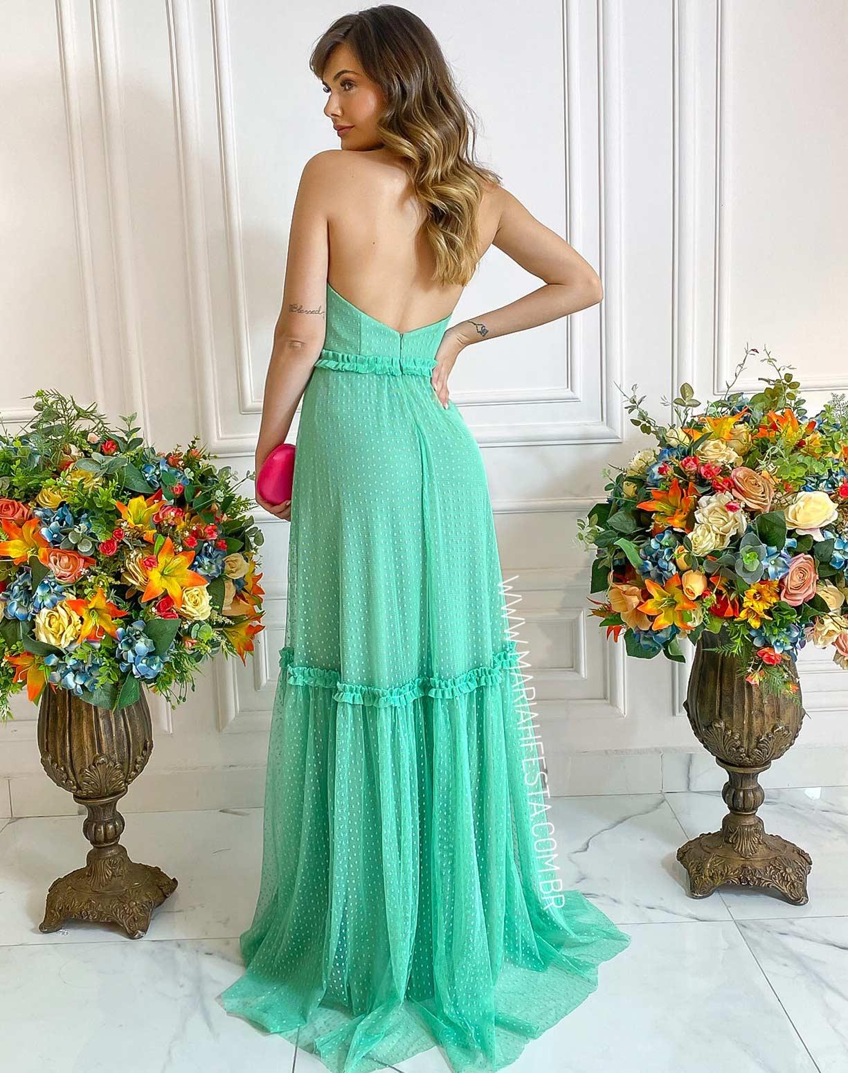 Vestido Frente Única Verde Água em Tule Texturizado