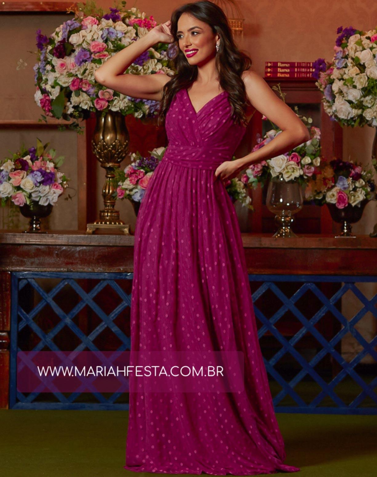 Vestido Fúcsia em Tule com Textura em Poá