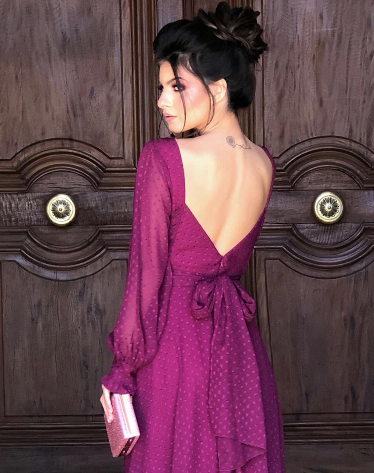 Vestido Fúcsia Manga Longa com Textura em Poá