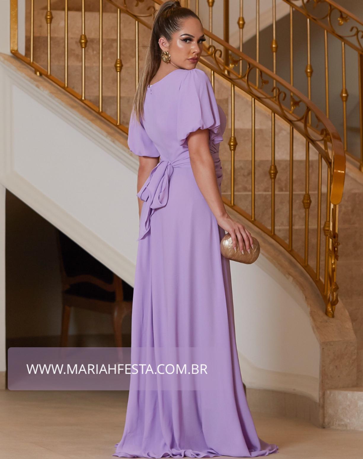 Vestido Lavanda com Manga Bufante e Cinto Drapeado