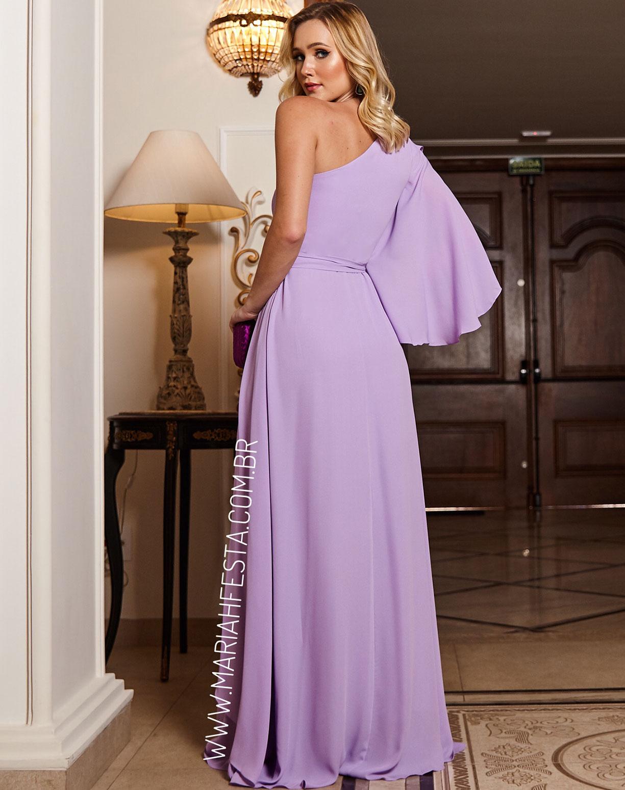 Vestido Lavanda de um Ombro só Com Drapeado na Saia