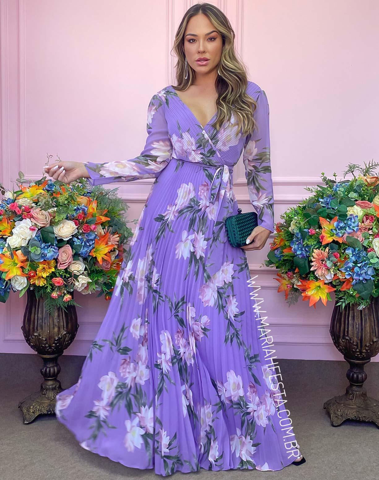 Vestido Lavanda Floral Plissado
