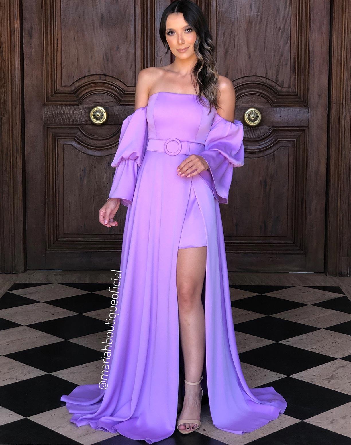 Vestido Lavanda Manga Bufante com Fenda
