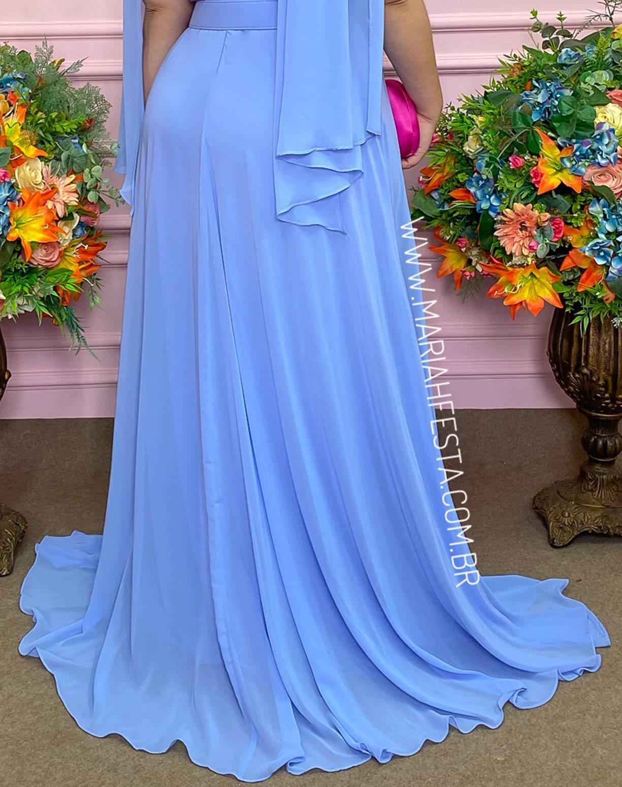 Vestido Manga Capa Azul Serenity