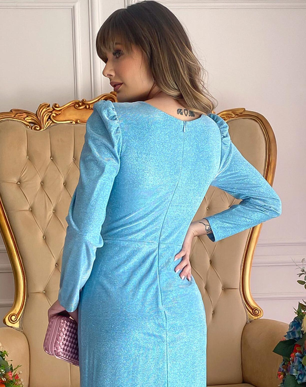 Vestido Manga Longa Azul Serenity em Lurex com Glitter
