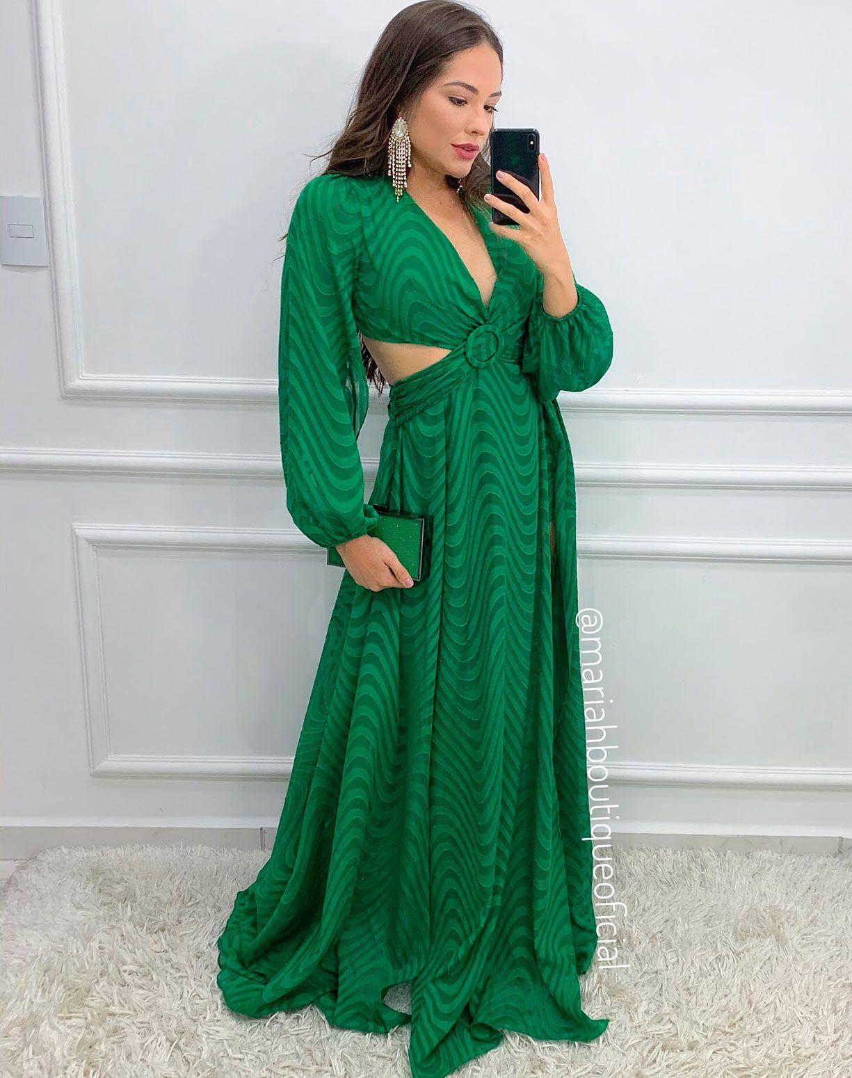 Vestido Verde Bandeira Manga Longa Com Fendas