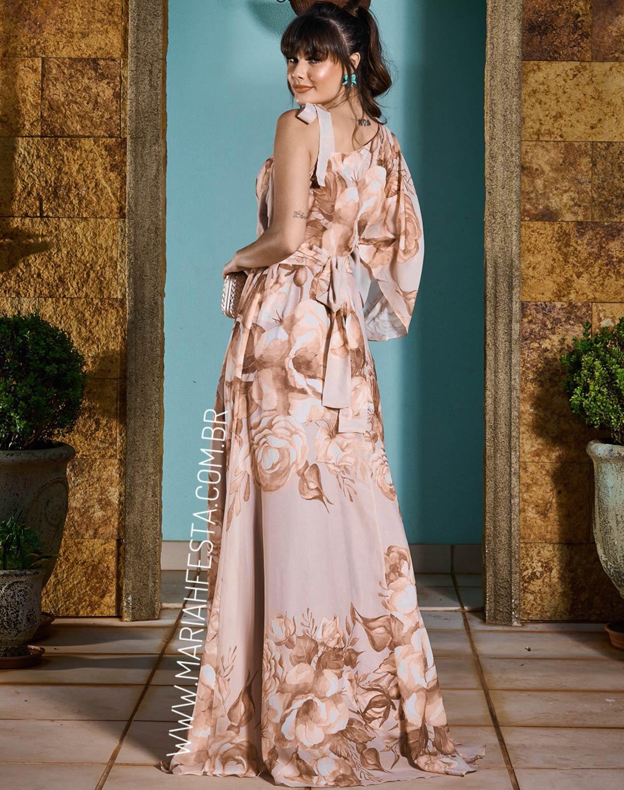Vestido Marrom Claro de Um Ombro Só e Alça de Amarrar