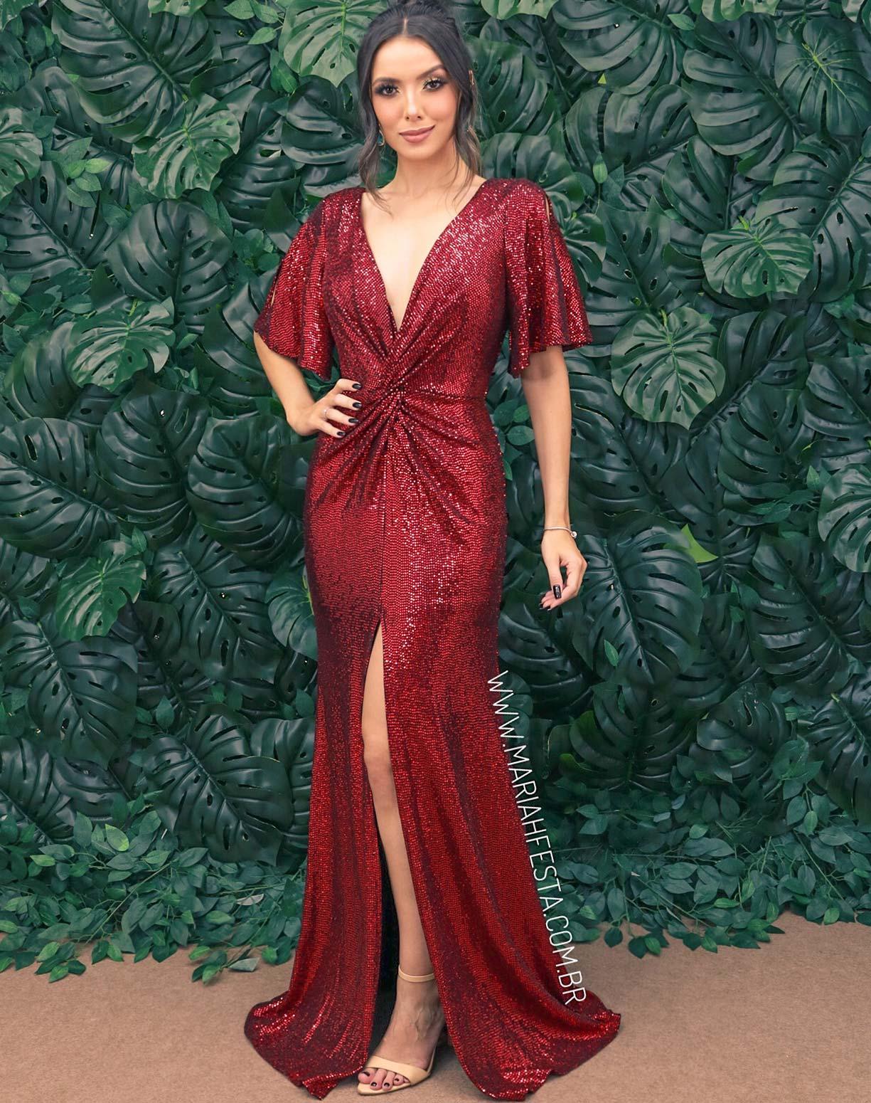 Vestido Marsala com Fenda em Paetê