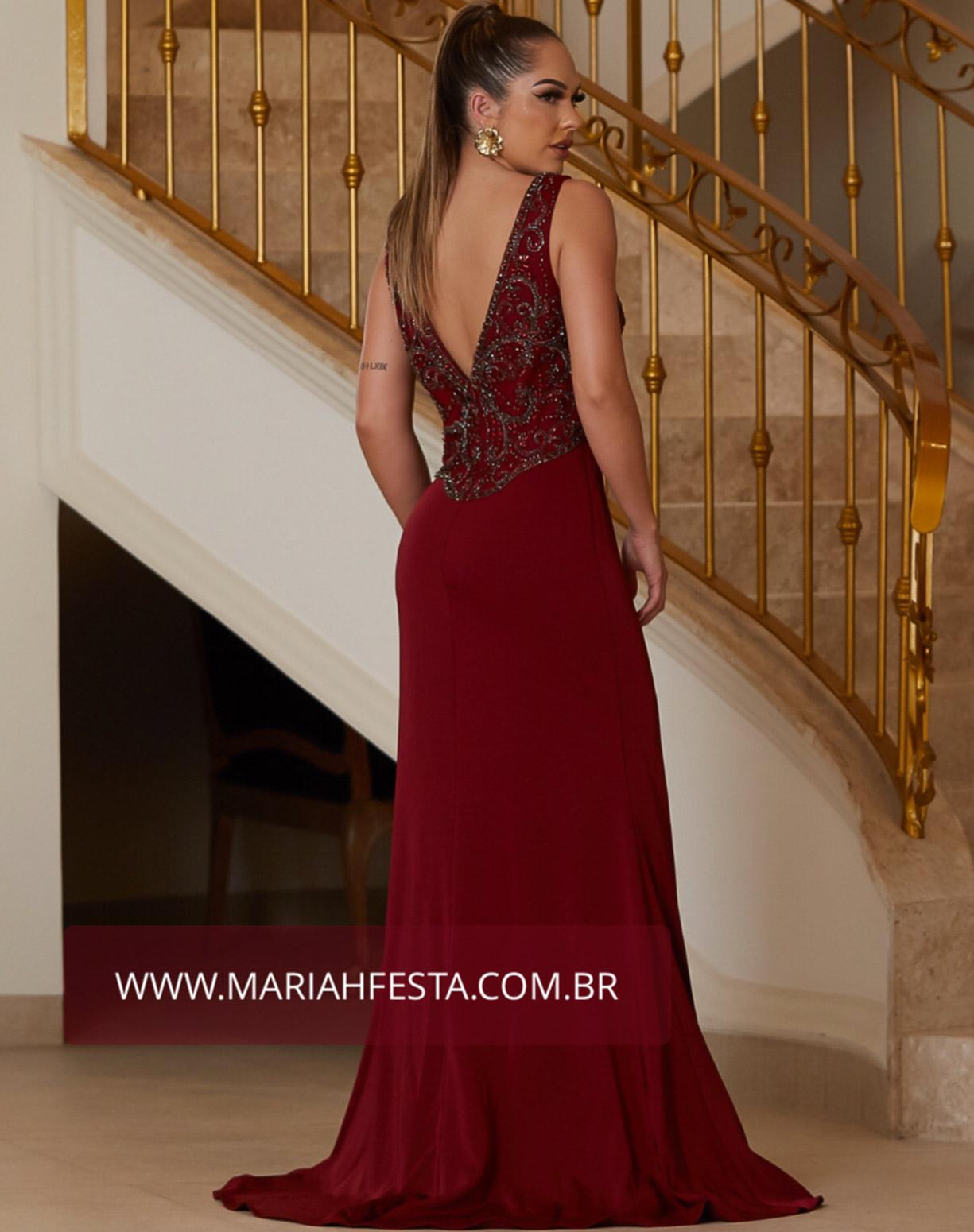 Vestido Marsala Sereia com o Corpo Bordado