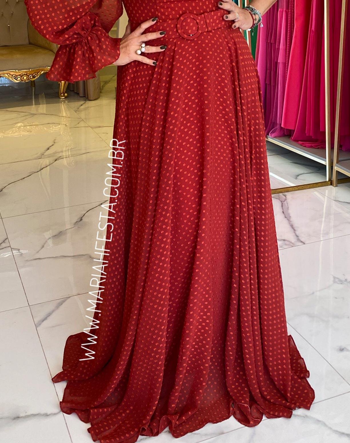 Vestido Terracota (avermelhado) de um Ombro Só Texturizado