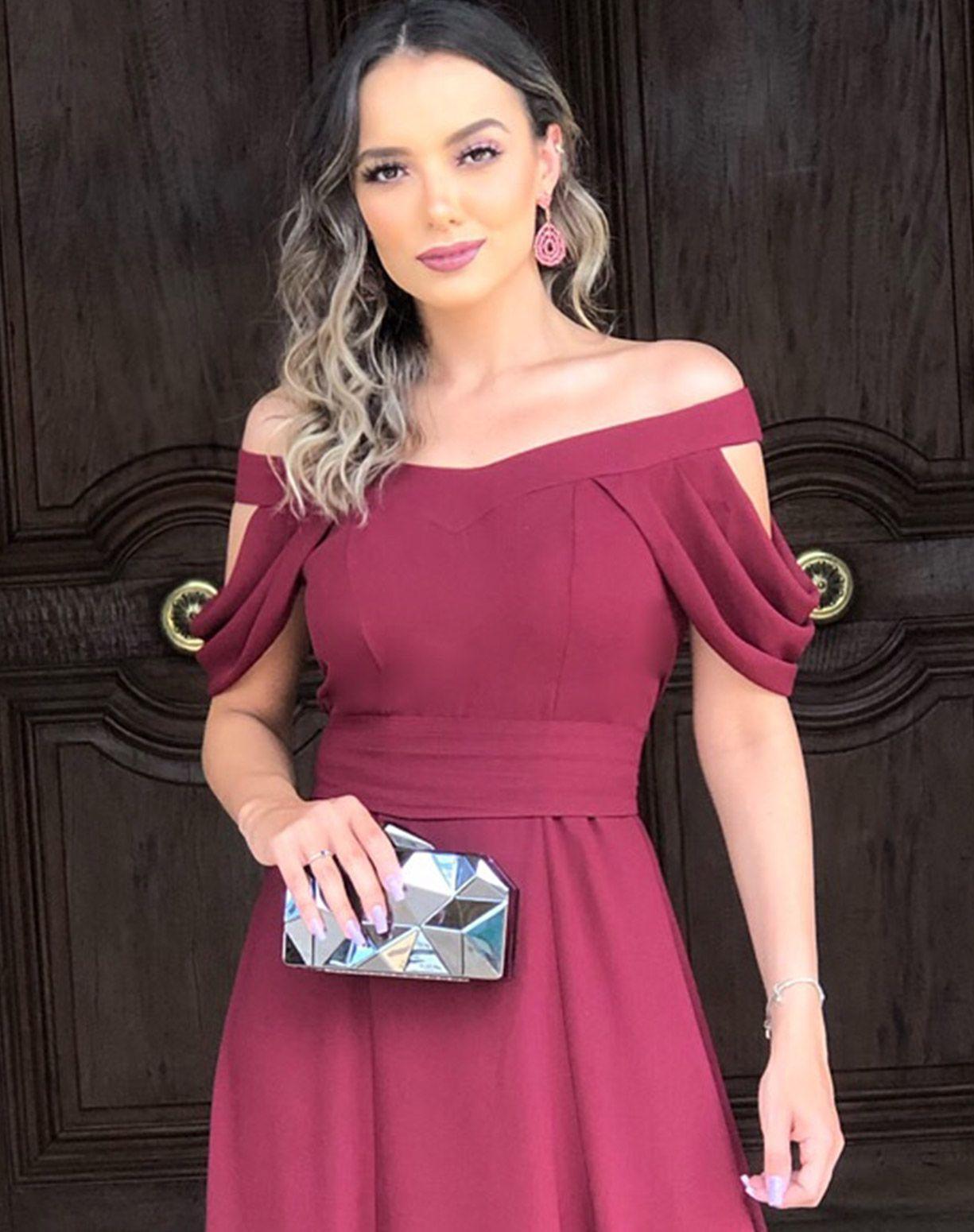 Vestido Marsala Decote Ombro a Ombro