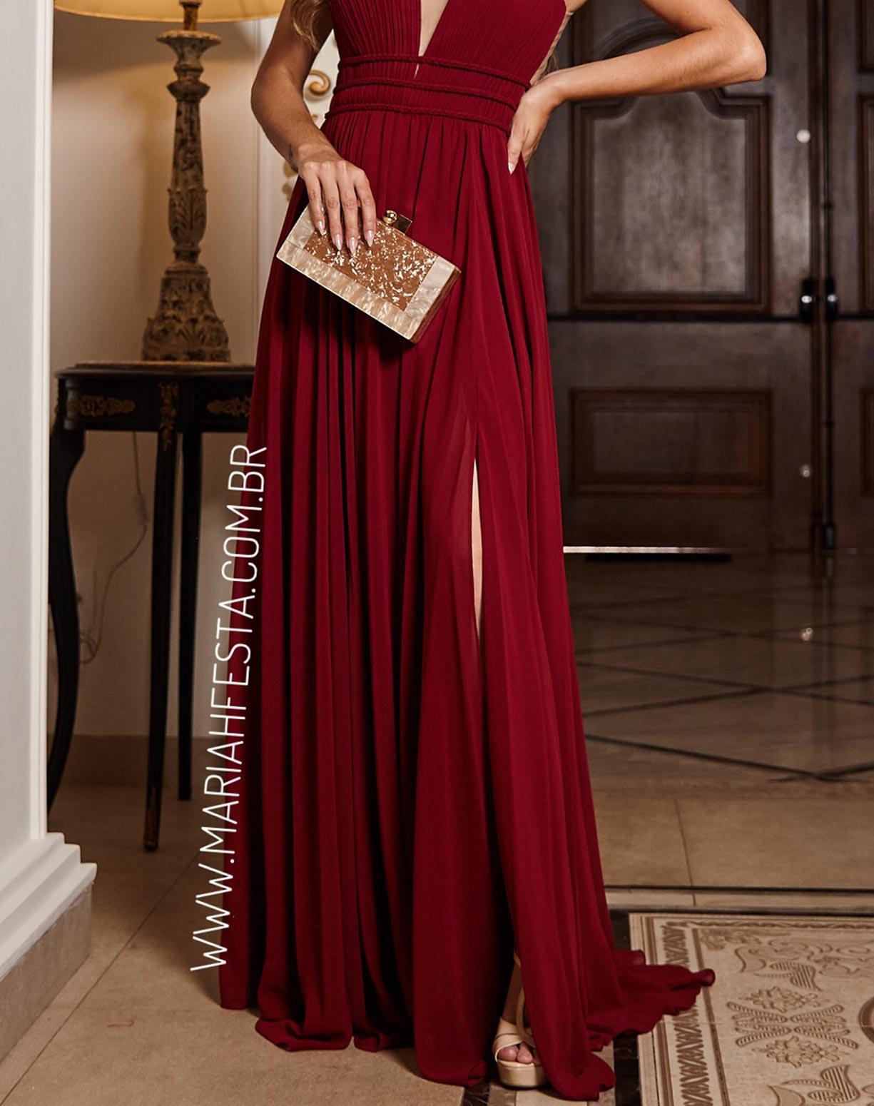 Vestido Marsala em Musseline com Detalhes em Macramê