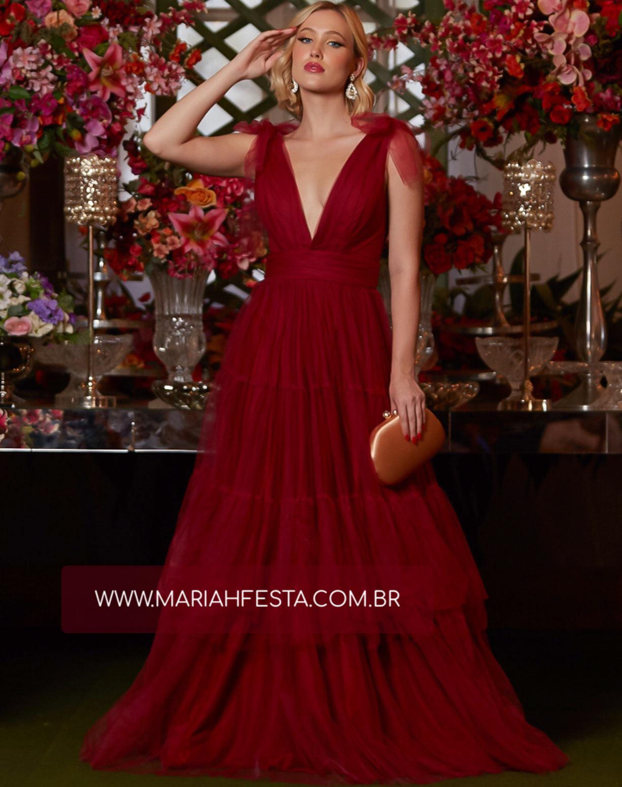 Vestido Marsala em Tule com Alça de Amarrar e Saia com Babados