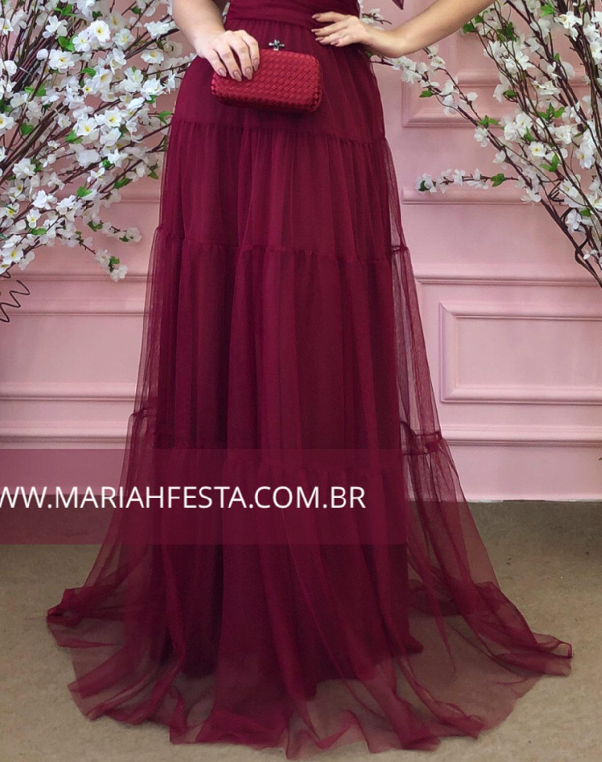 Vestido Marsala em Tule com Alças de Amarrar