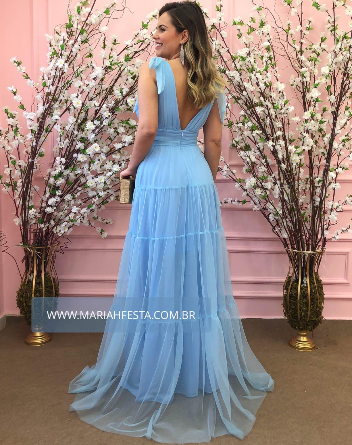 Vestido Azul Serenity em Tule com Alças de Amarrar
