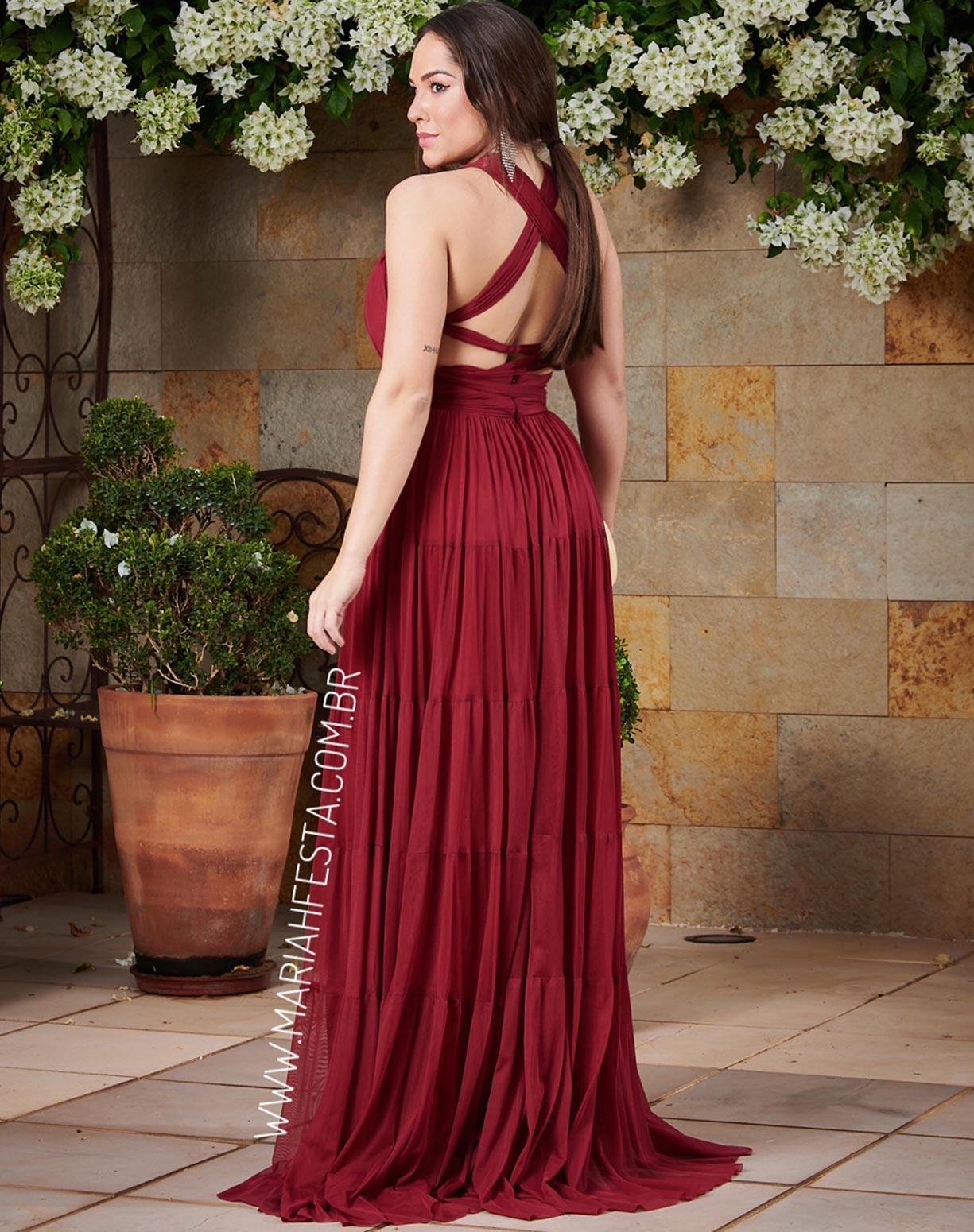 Vestido Marsala em Tule com Alças Transpassadas