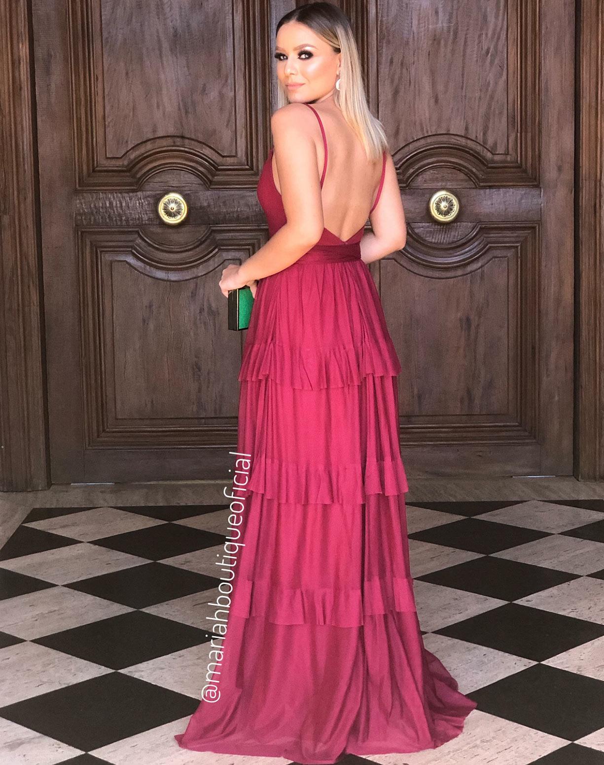 Vestido Marsala em Tule de Camadas
