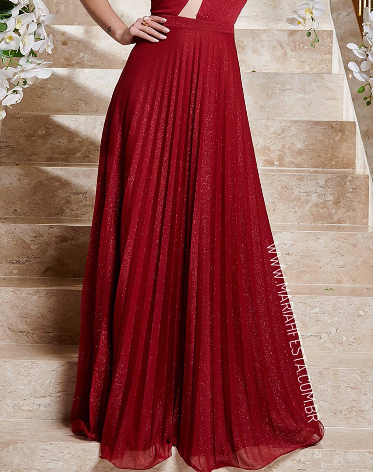 Vestido Marsala em Tule Glitter Plissado de Um Ombro Só