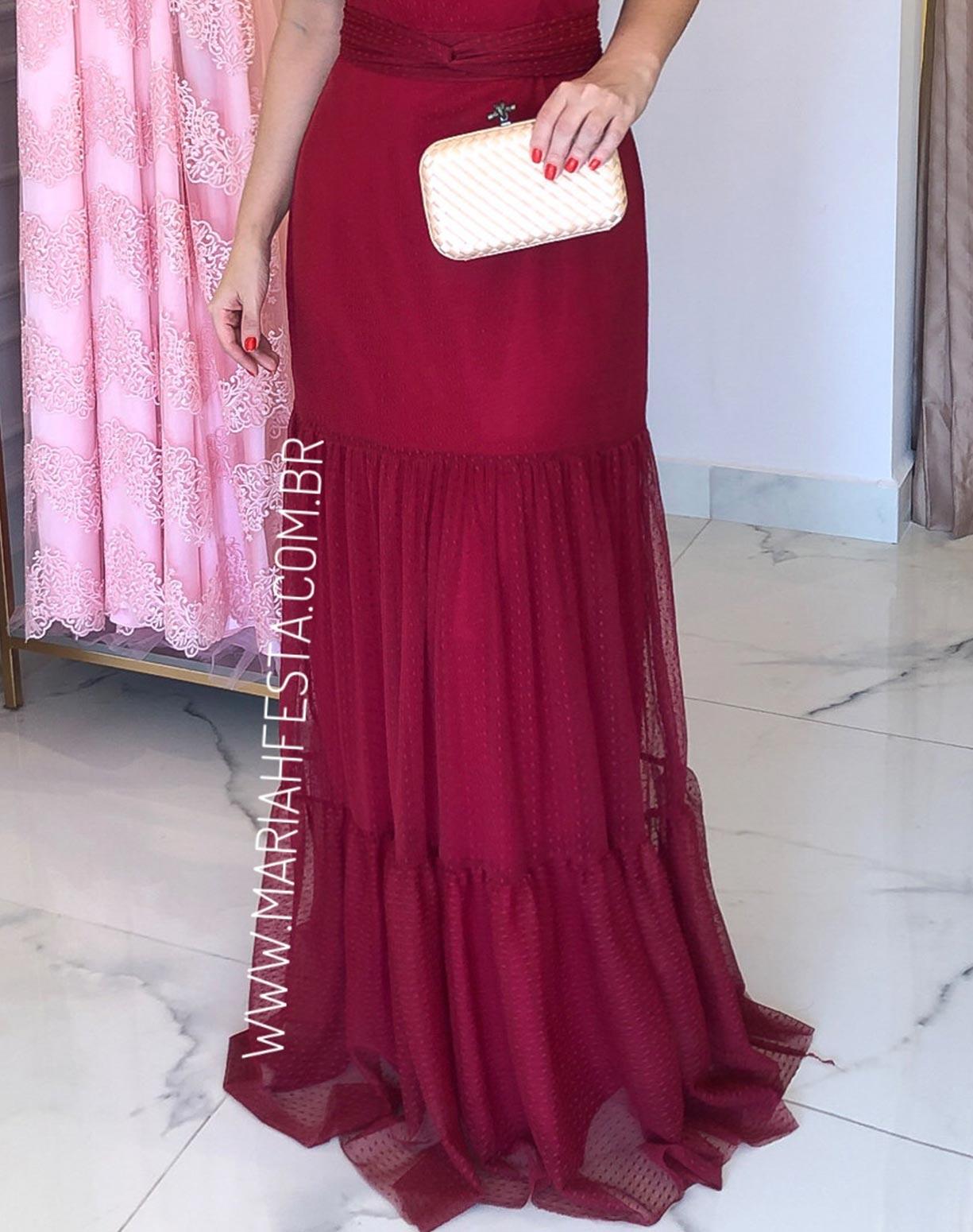 Vestido Marsala em Tule Texturizado