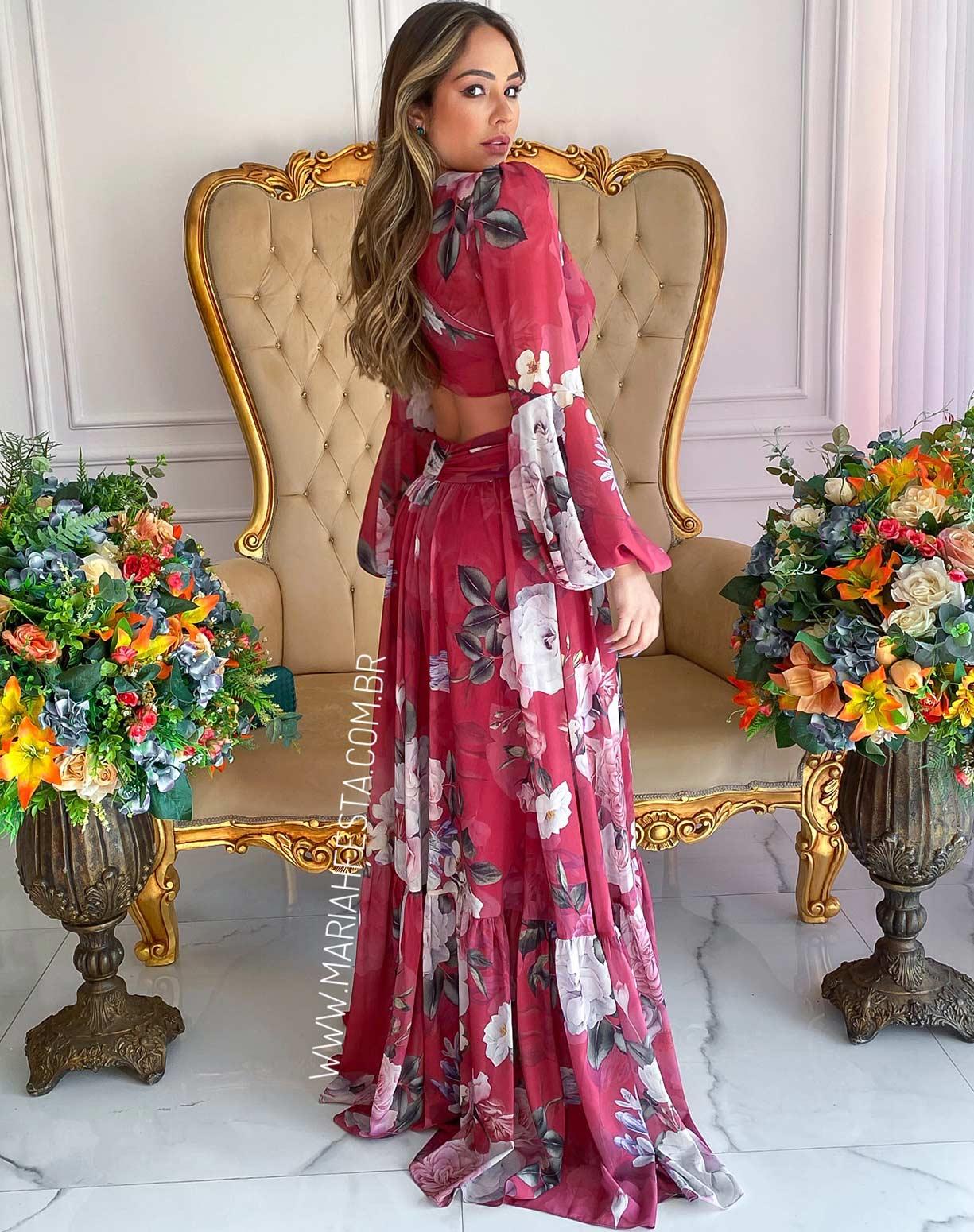 Vestido Marsala Estampado com Decotes