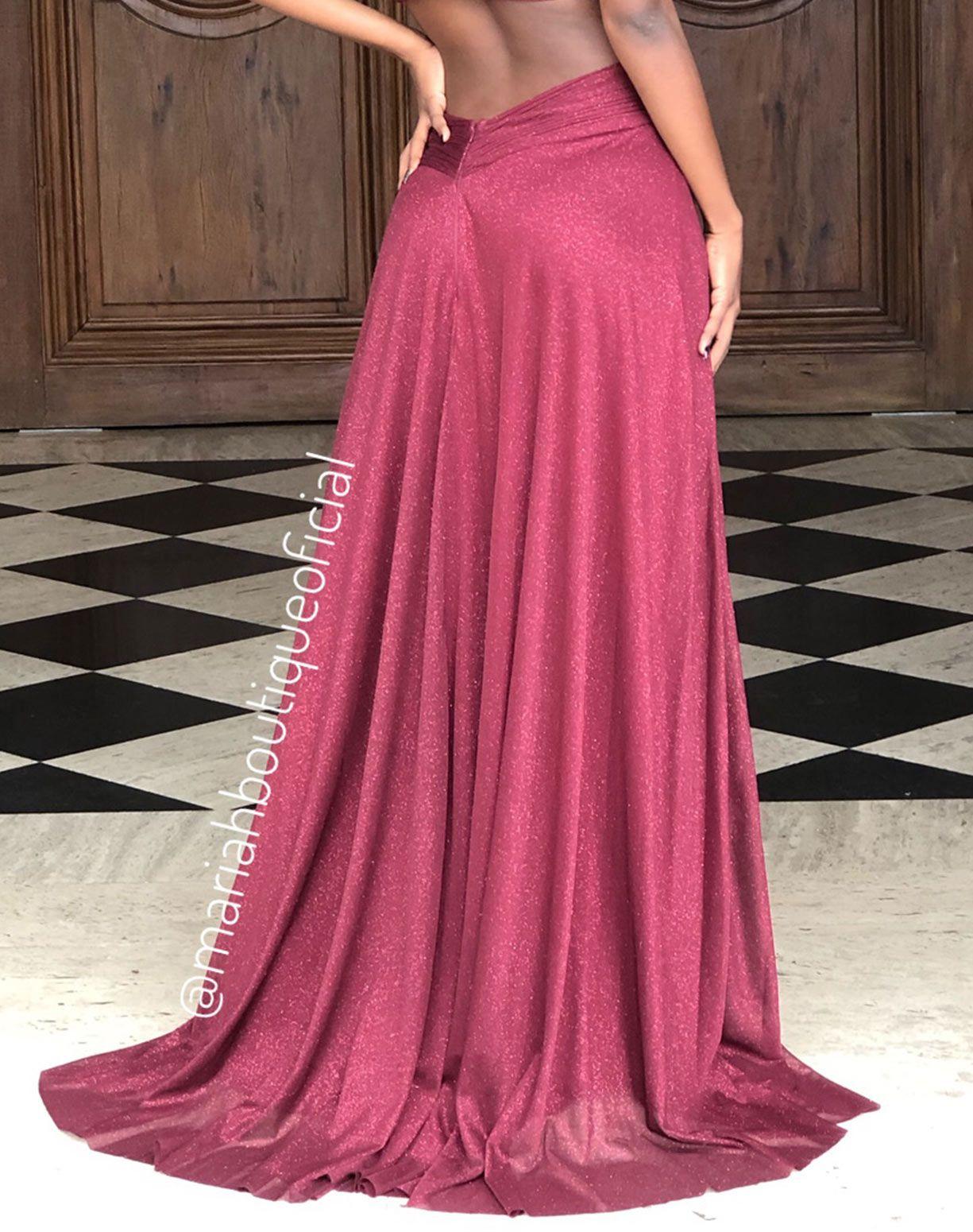 Vestido Marsala Glitter Com Decote