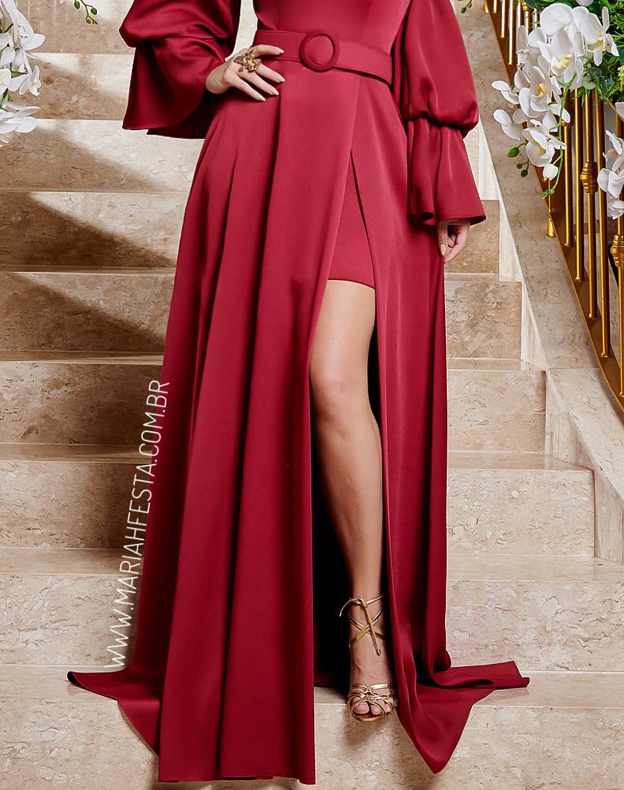 Vestido Marsala  Manga Bufante com Fenda