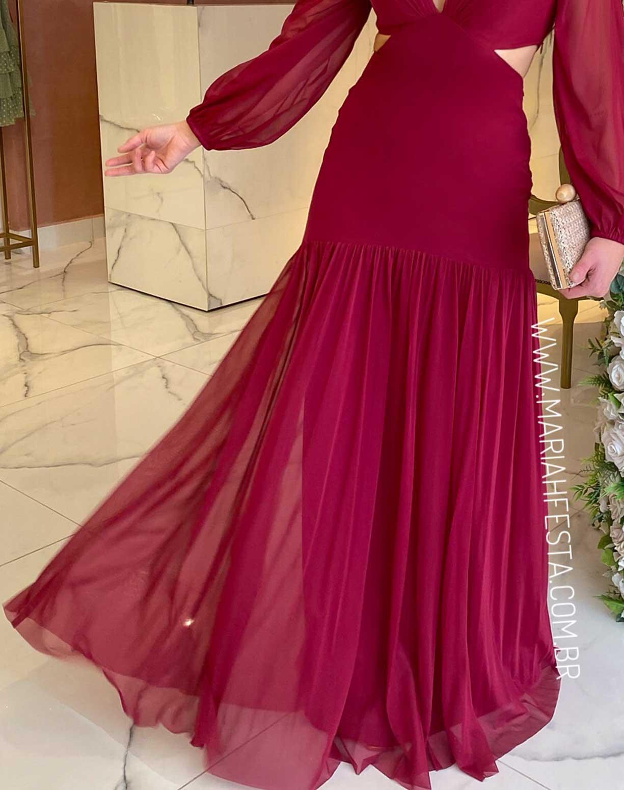 Vestido Marsala Manga Longa em Tule