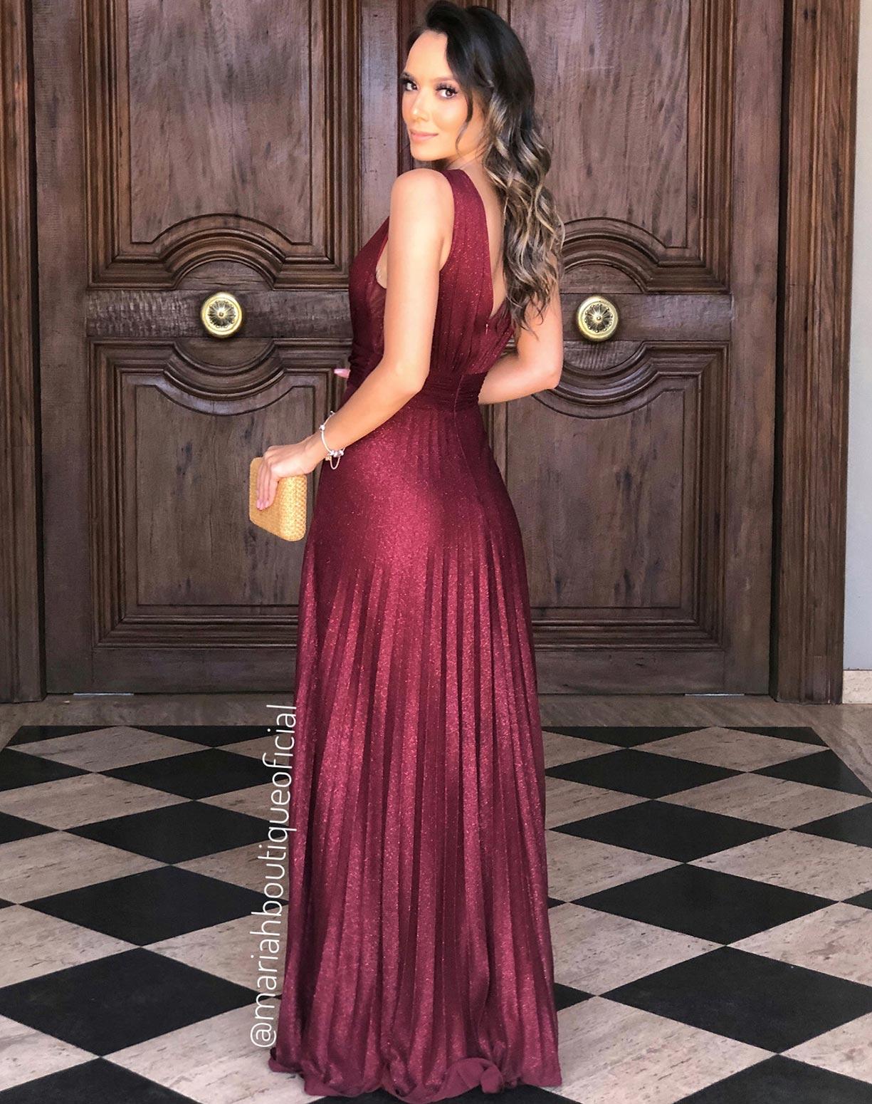 Vestido Marsala Plissado Tule Glitter