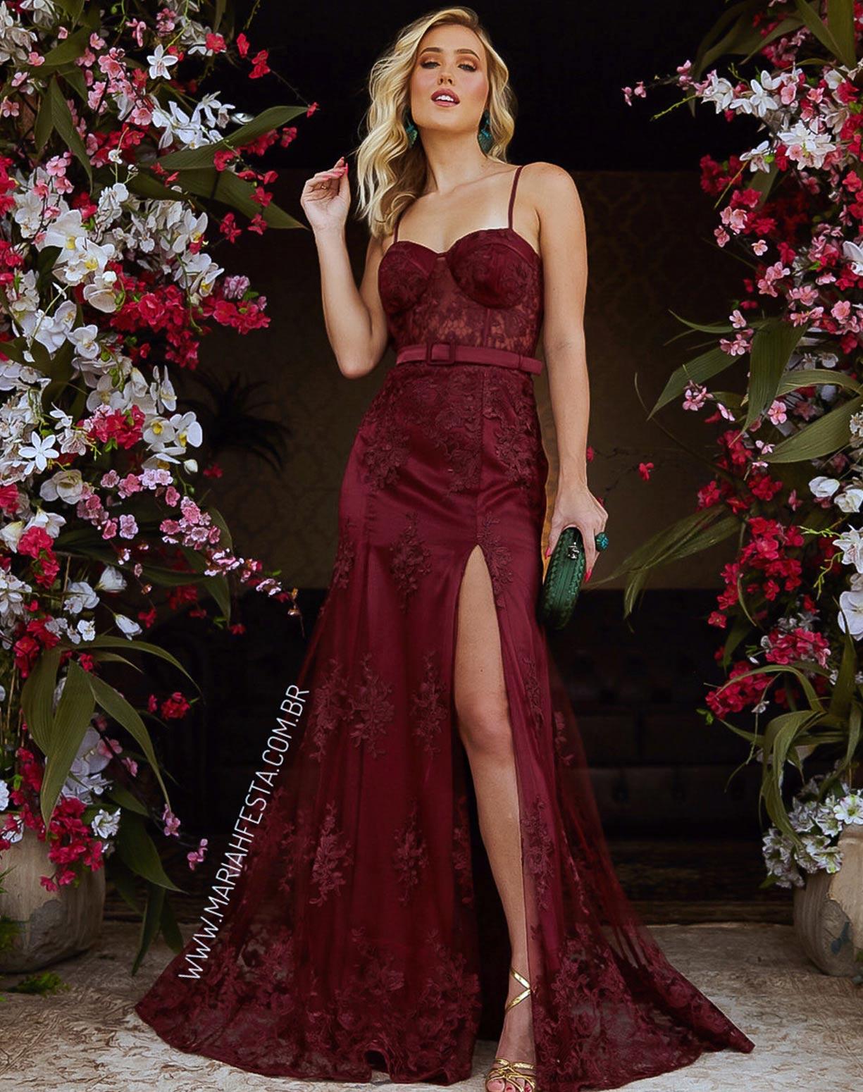 Vestido Marsala Sereia em Renda