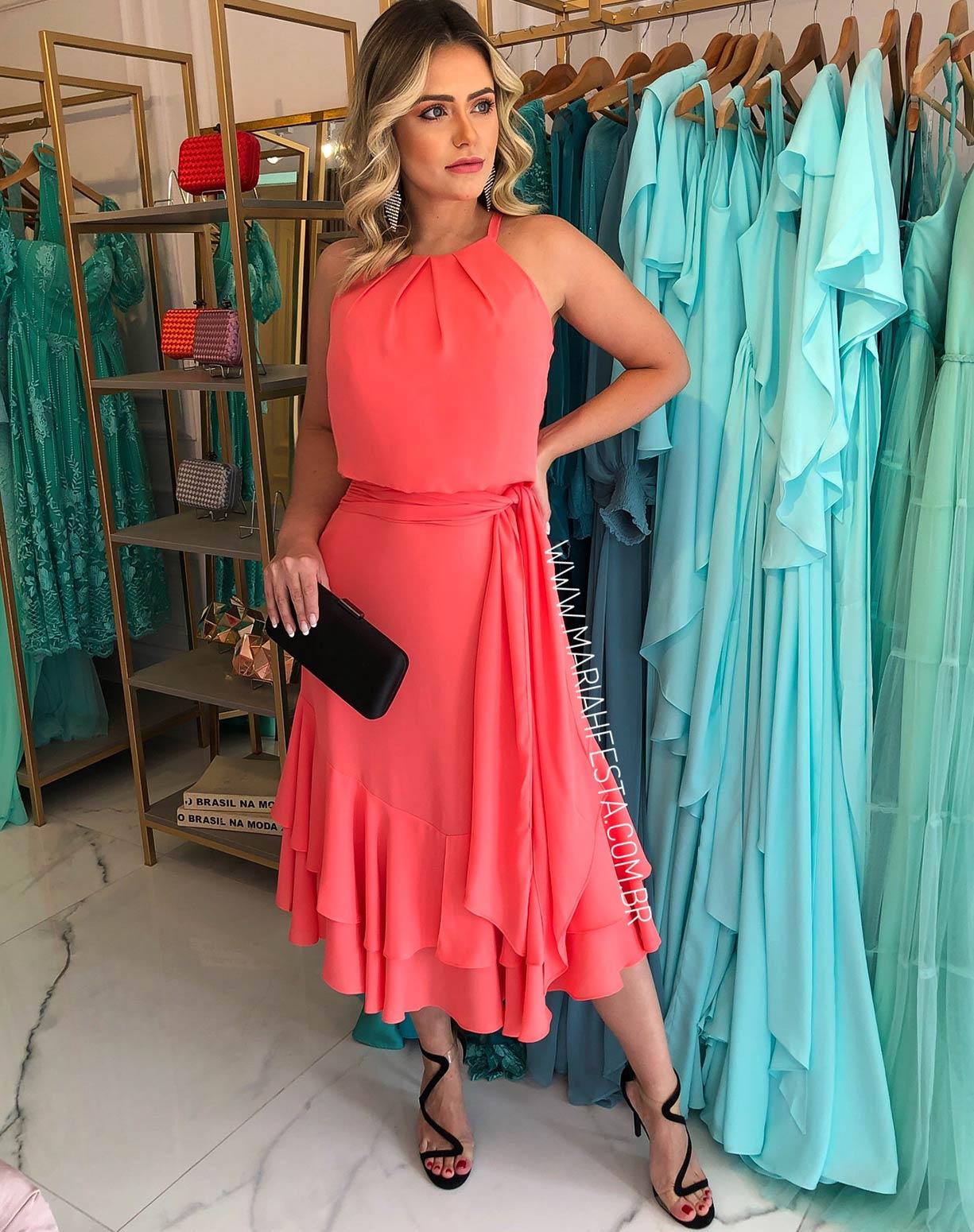 Vestido Midi Blusê Coral