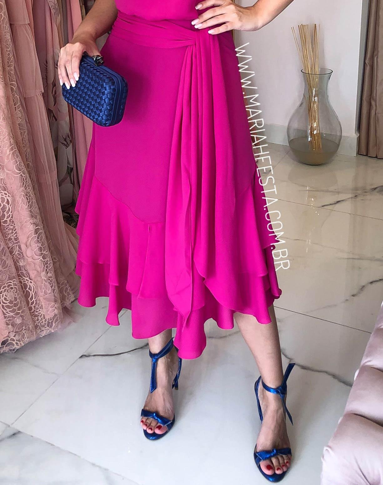 Vestido Midi Blusê Rosa Pink
