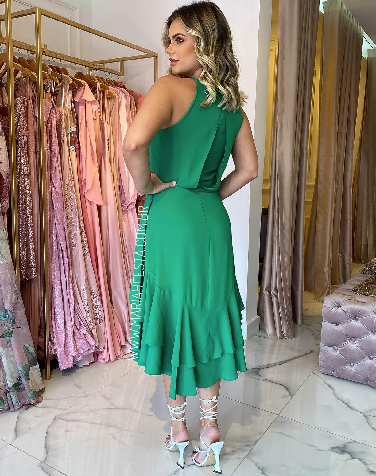 Vestido Midi Blusê Verde