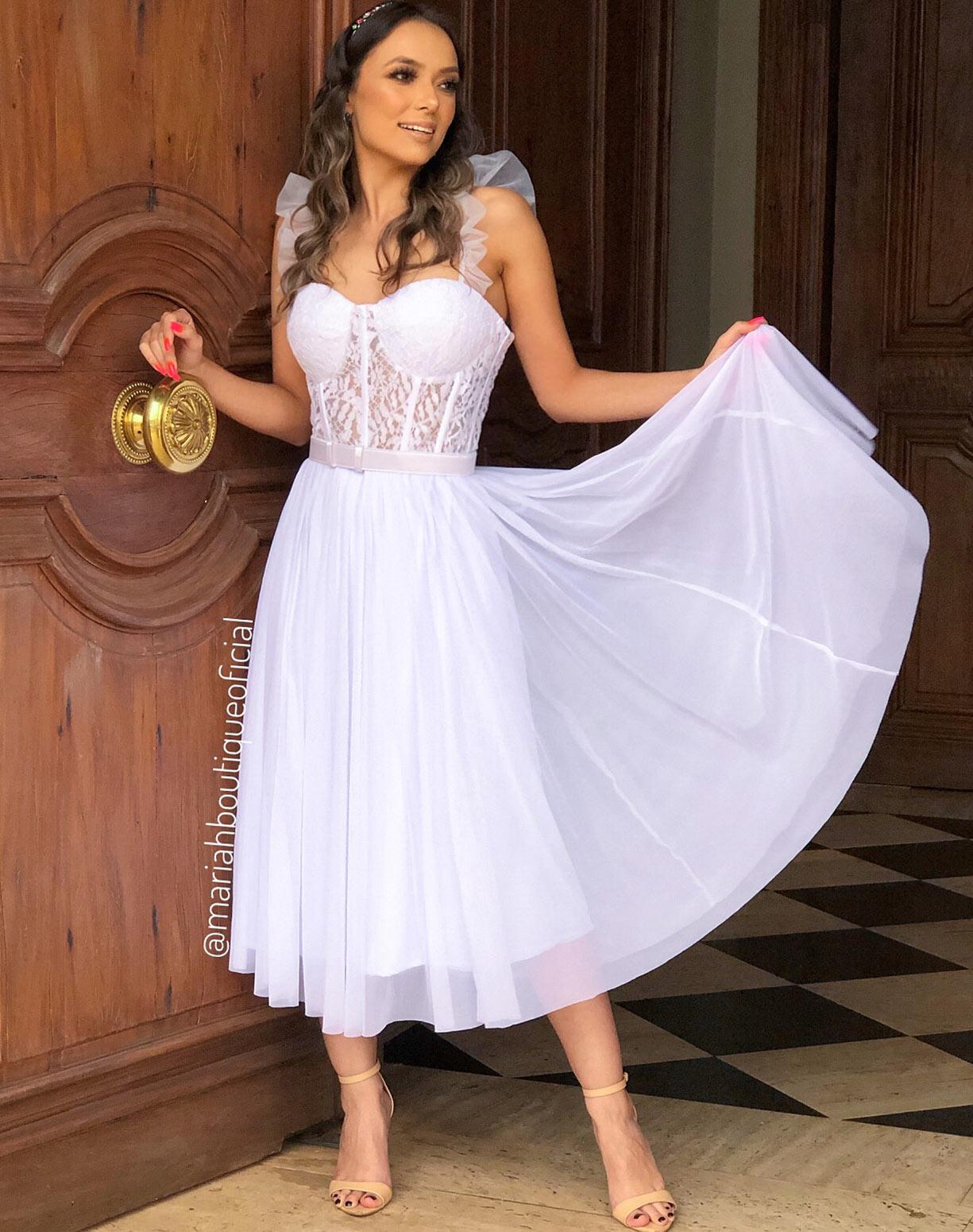 Vestido MIDI Branco com Corpete e Saia Evasê