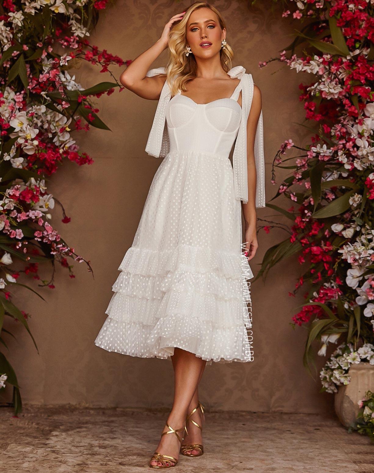 Vestido Midi Branco com Textura em Mini Poás
