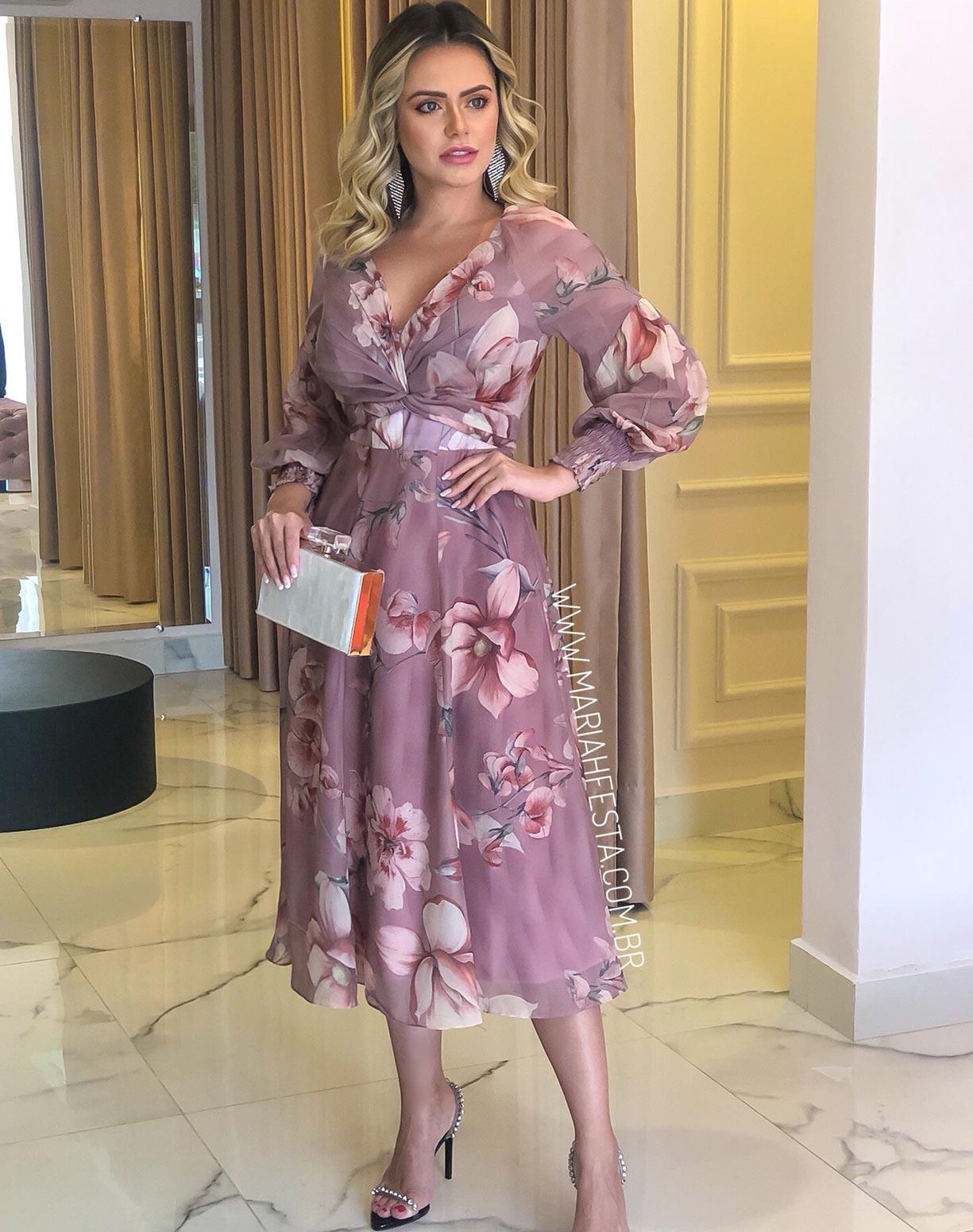 Vestido Midi Estampado Rosê