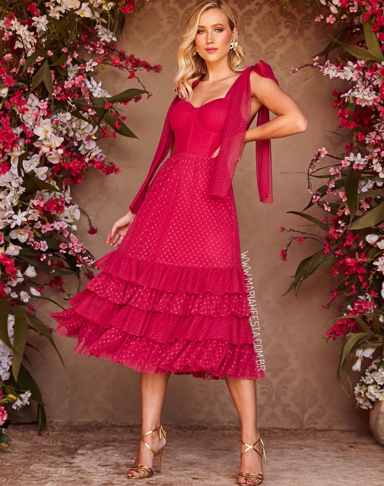 Vestido Midi Pink com Textura em Mini Poás
