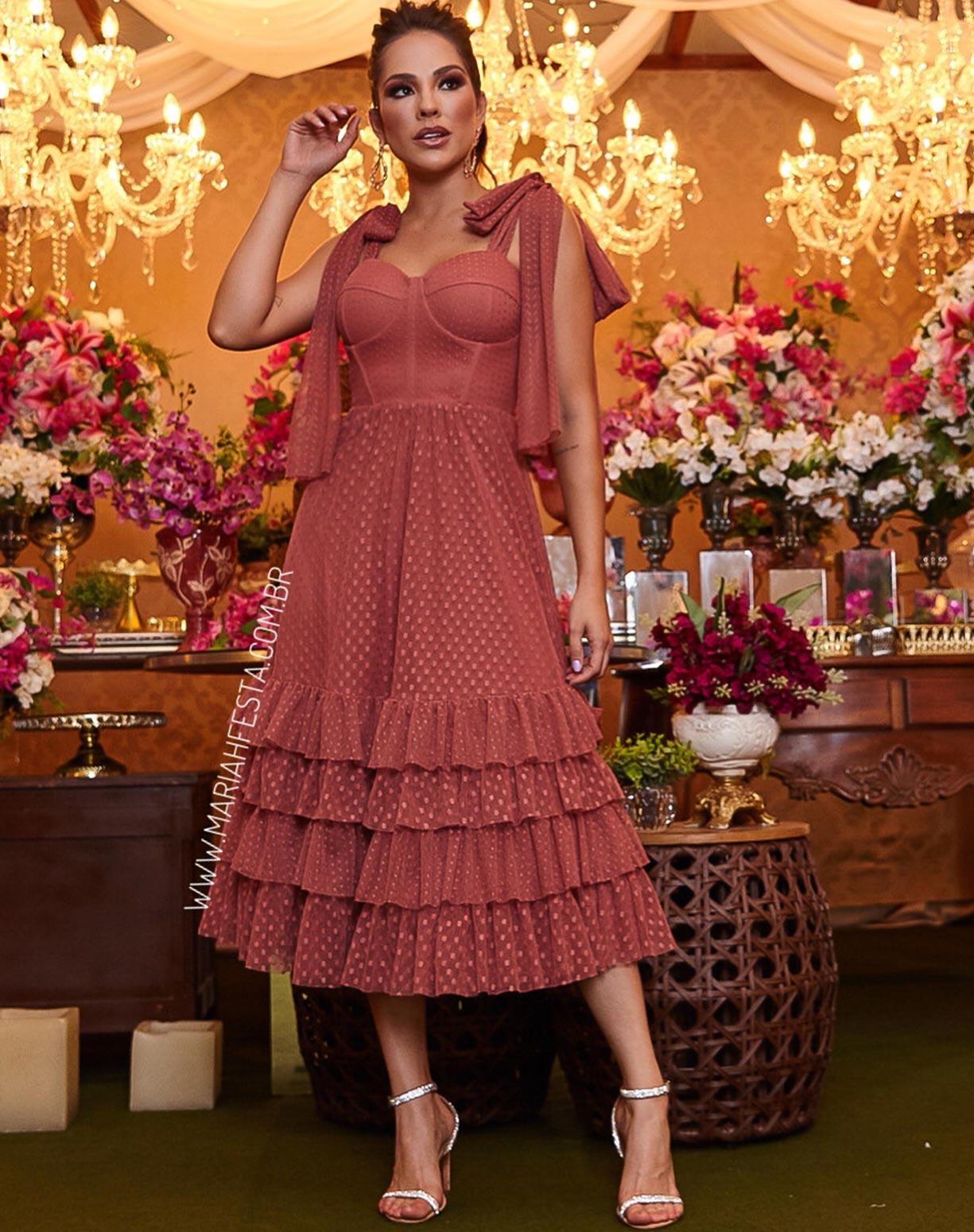 Vestido Midi Rosa Antigo com Textura em Mini Poás