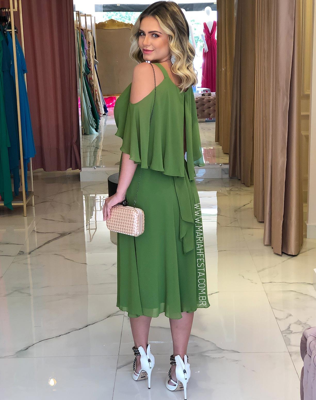 Vestido Midi Verde Oliva Manga Capa