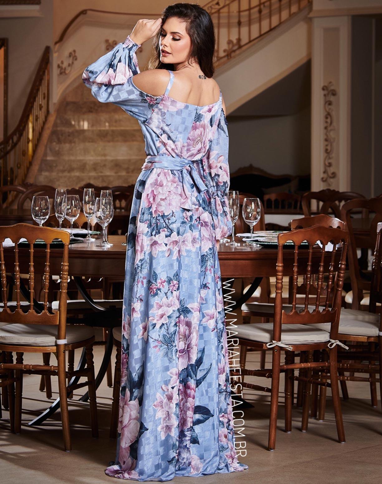 Vestido Mix de Estampas Azul Serenity com Manga Longa