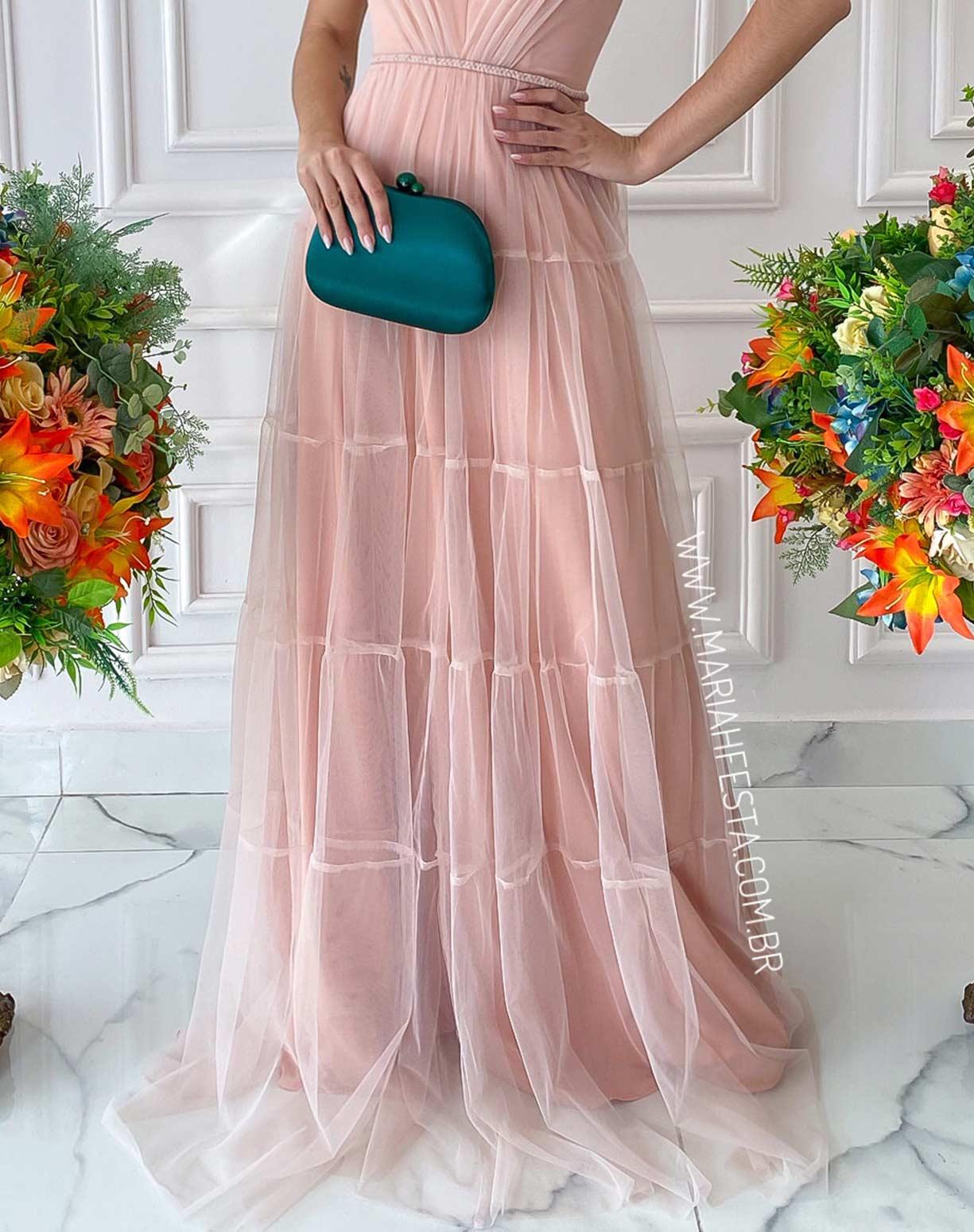 Vestido Nude Rosado em Tule com Saia Evasê em Camadas