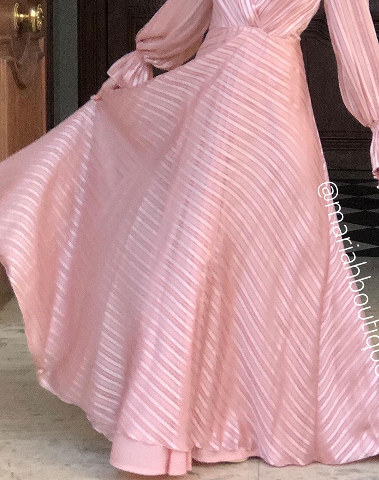 Vestido Nude Listras em Seda