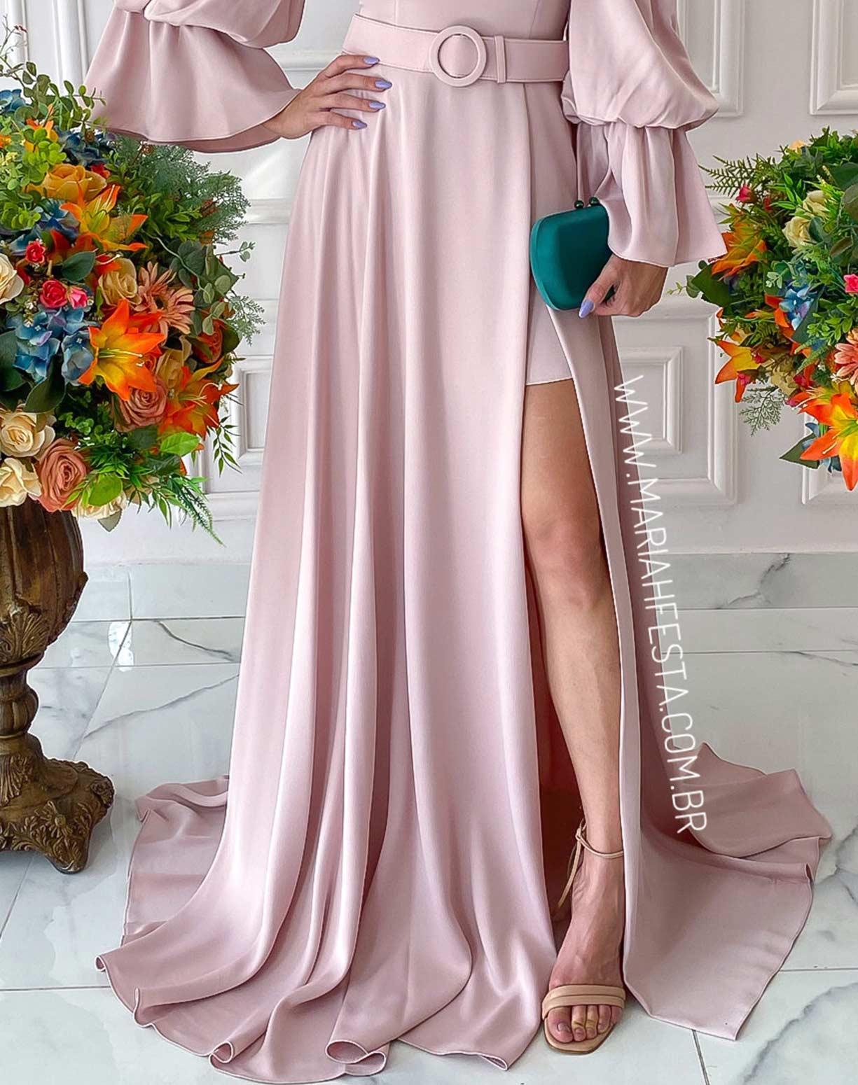 Vestido Nude  Manga Bufante com Fenda