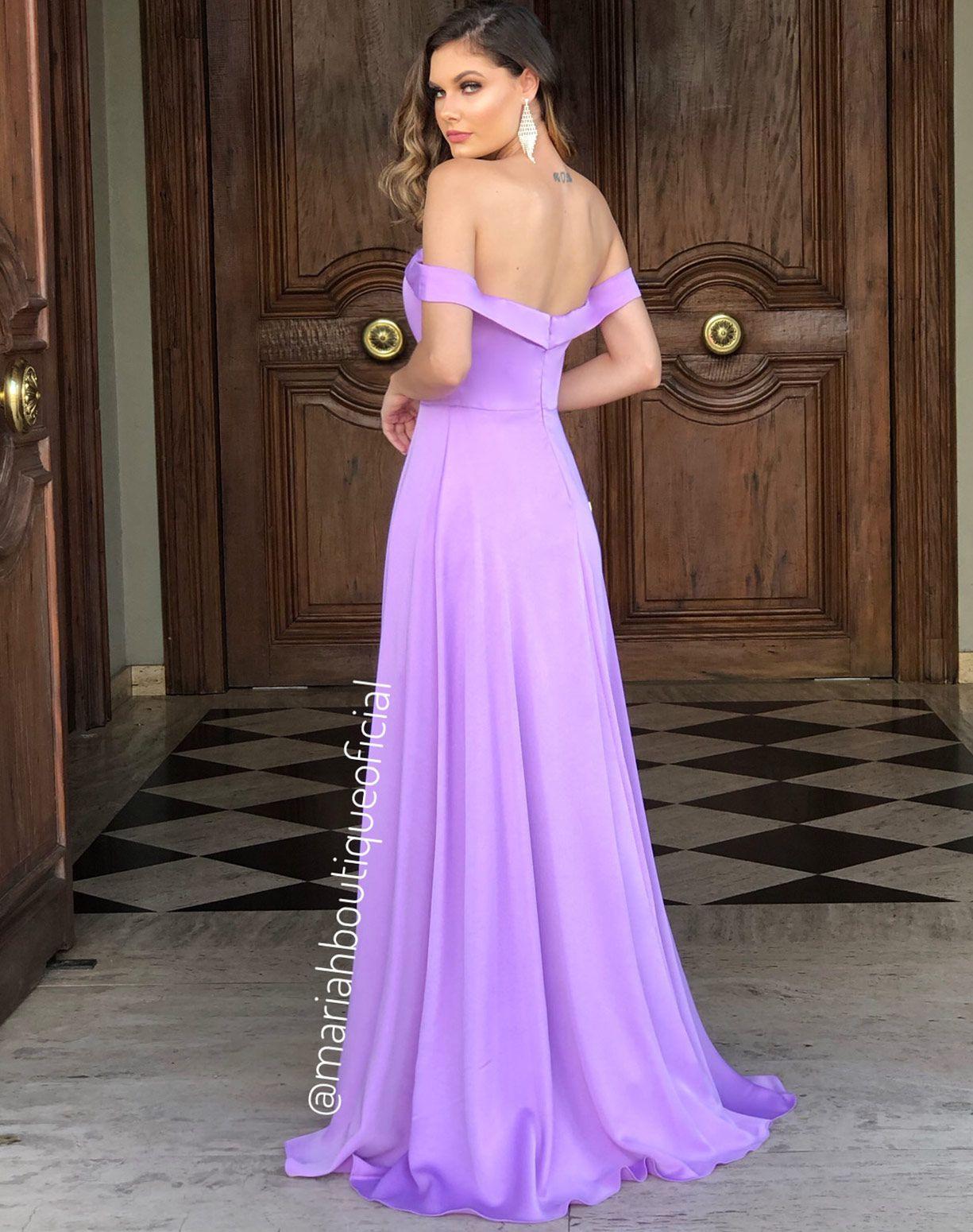 Vestido Lavanda Ombro a Ombro