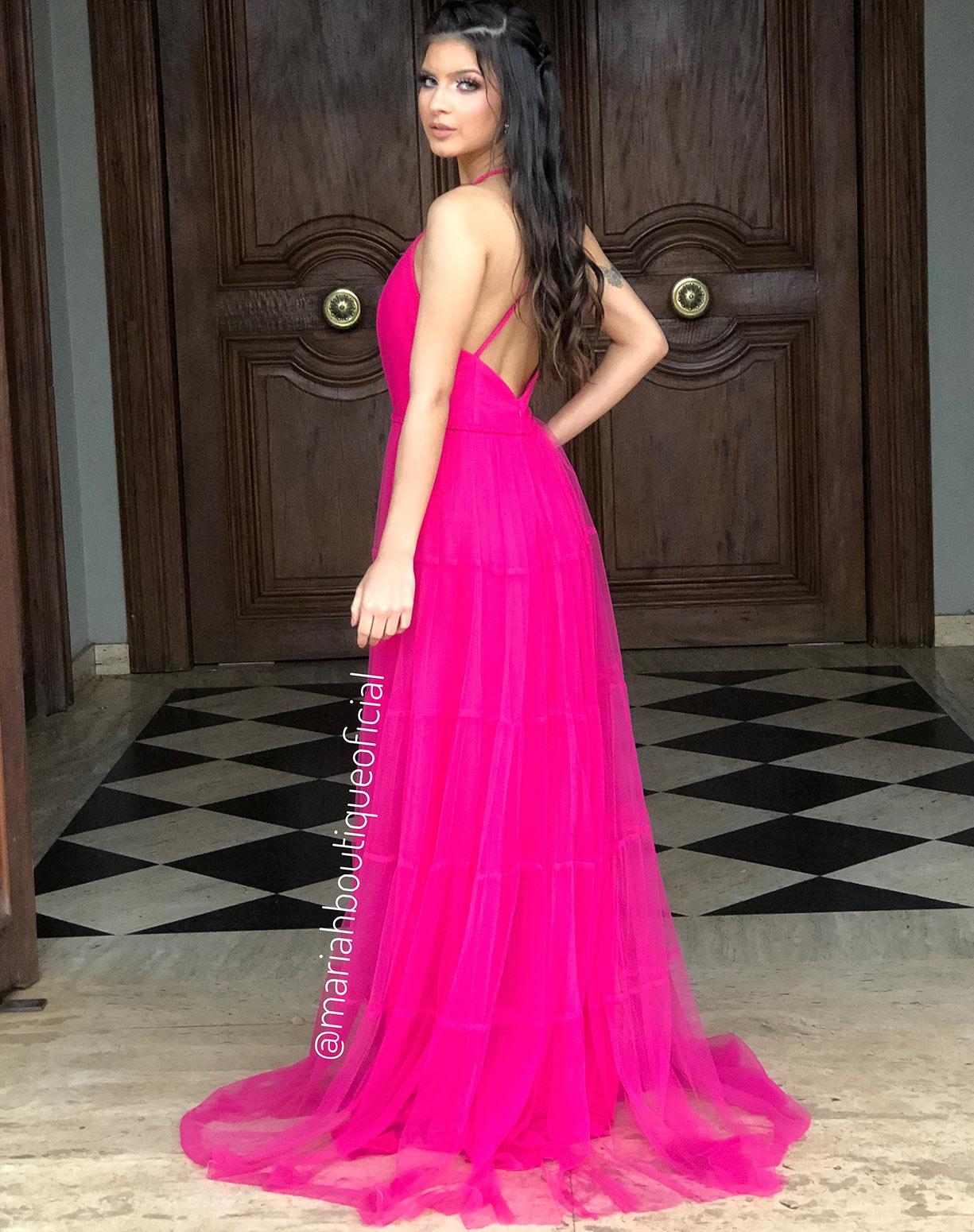 Vestido na cor Pink em Tule com Saia Evasê em Camadas