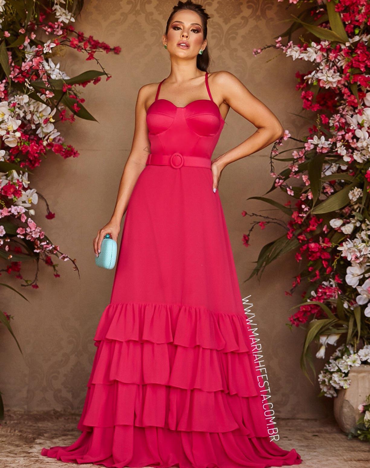 Vestido Rosa Pink com Corpete e Babados na Saia