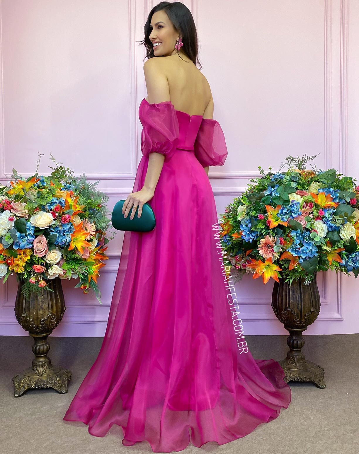 Vestido Rosa Pink em Organza