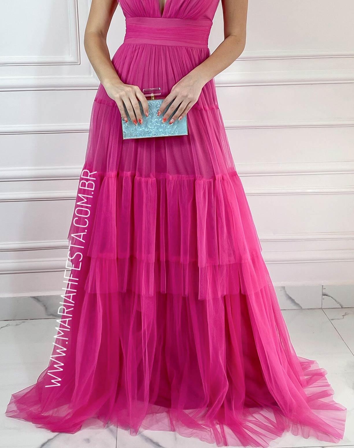 Vestido Pink em Tule com Alça de Amarrar e Saia com Babados