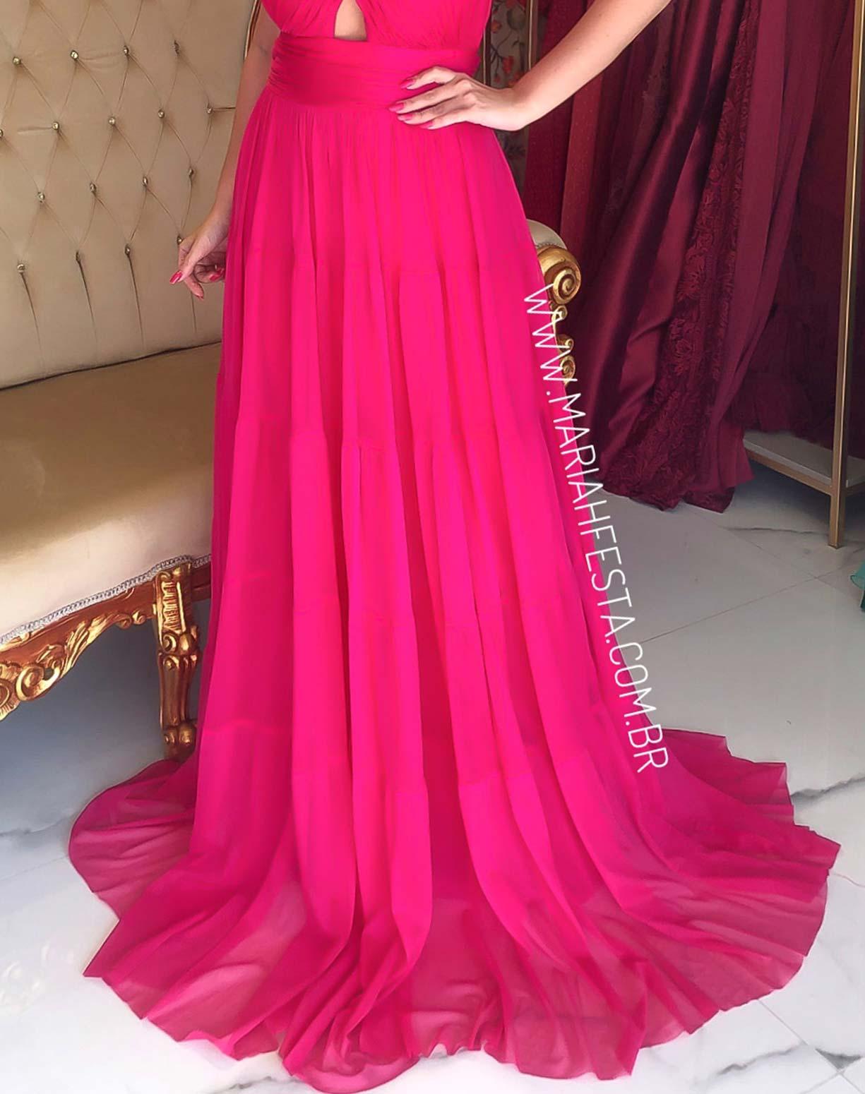 Vestido Pink em Tule com Alças Transpassadas